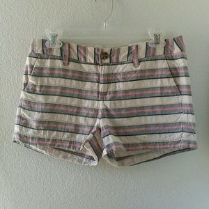 Merona white and pink stripe pocketed shorts